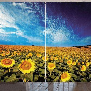 Curtains Sunflowers Field Print Backdrop 19321